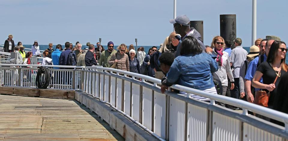 Passengers exited the ferry.